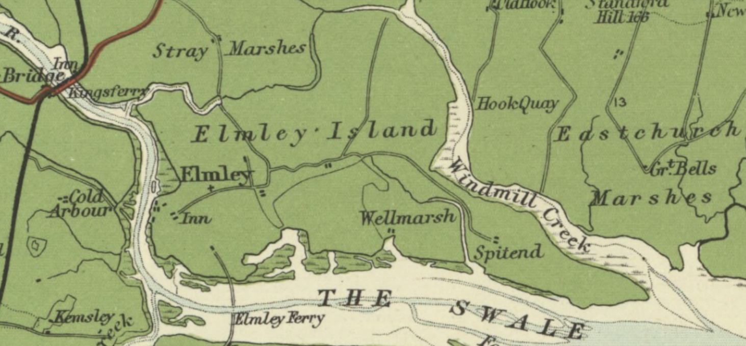 Old map, showing Elmley Island as green.