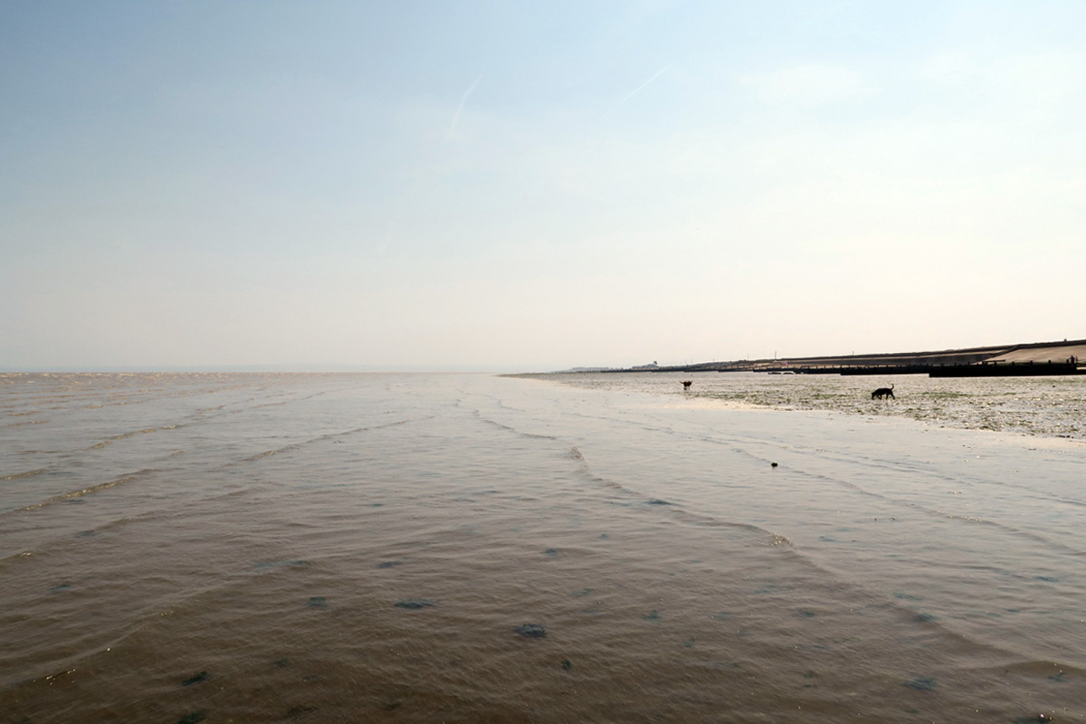 A shallow sea with rippling waves laps against an empty beach, below a blue sky