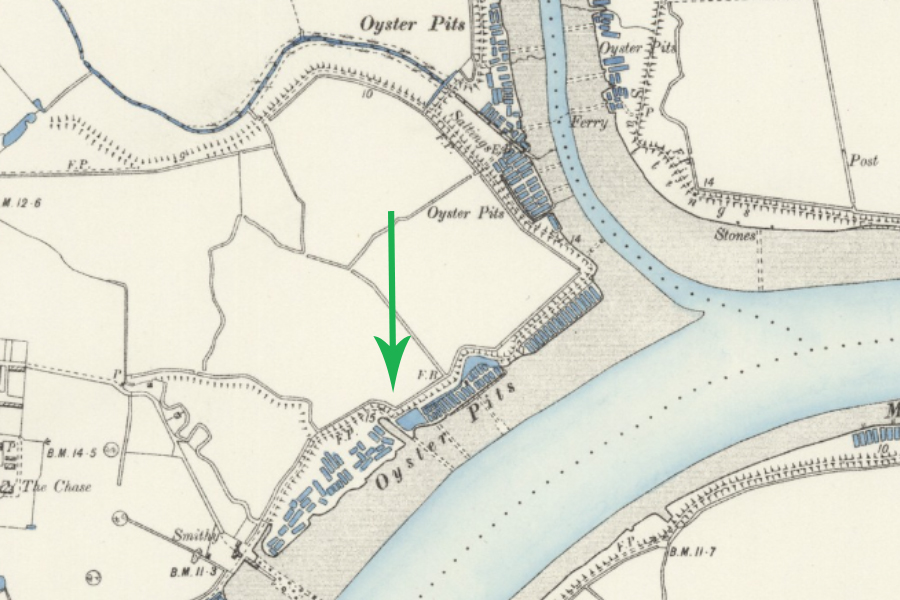1898 map showing numerous oyster beds along the creeks and a dock dug into the saltmarsh