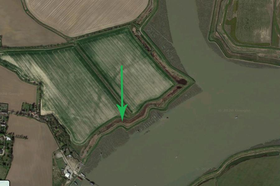 Modern Google satellite map showing HMS Beagle's final dock