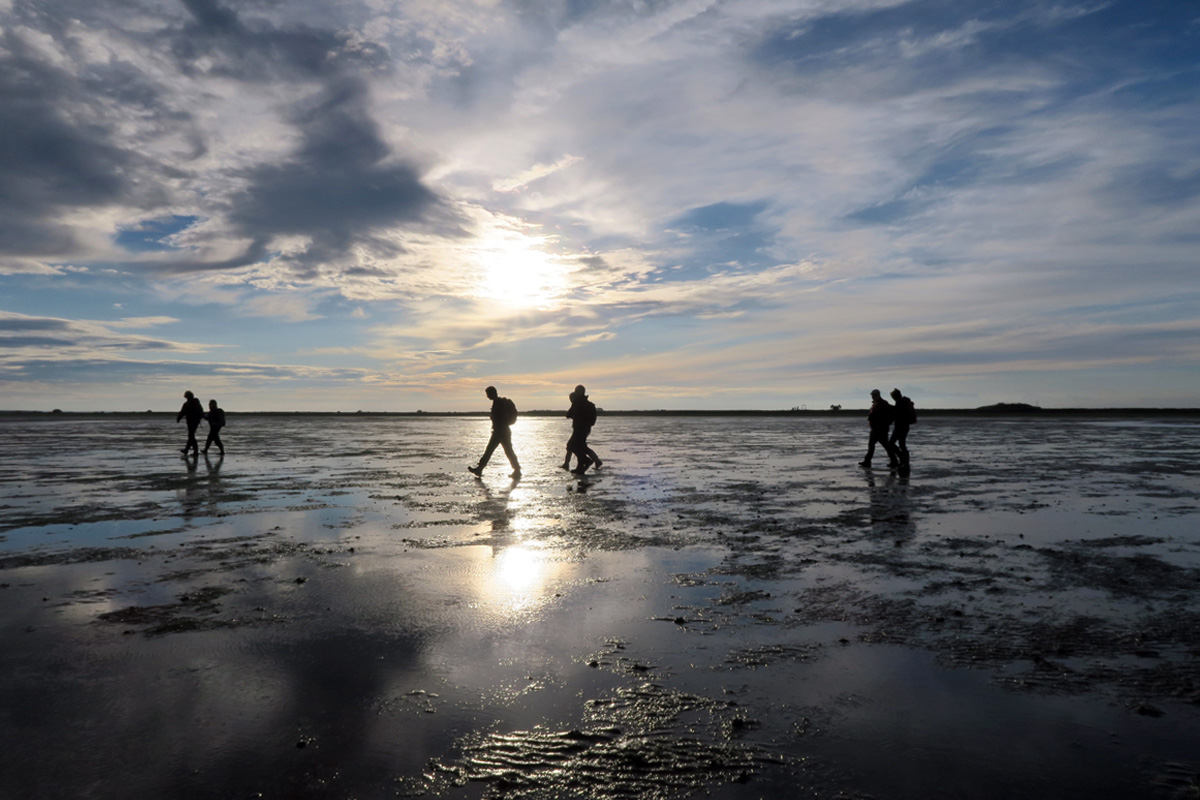 A scattered group walks across the wet sands, the low sun is reflected in the puddles and pools