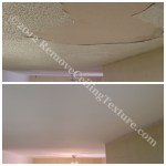 Damaged kitchen ceiling, delaminating texture due to roof leak in Burnaby, BC