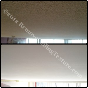 Popcorn ceiling texture removed from concrete ceilings
