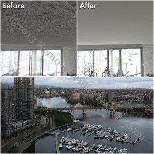 Texture removal on concrete ceilings in Yaletown