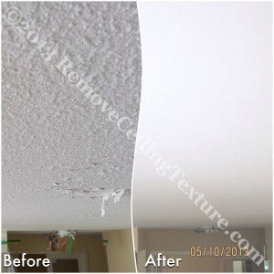 Texture removal takes care of this peeling, water damaged ceiling