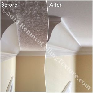 Ceilings have a professional look after texture removal.