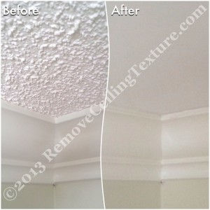 Instead of drywalling over textured ceilings, the homeowners opted for ceiling texture removal.