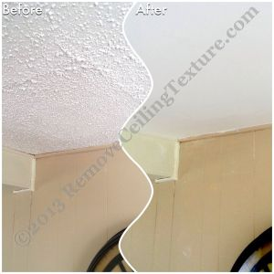 Ceiling Texture removal in Kamloops - This spot of popcorn ceiling had been poorly patched in the past