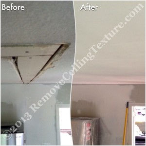 Ceiling repair after removing walls between the kitchen and dining room - Langley