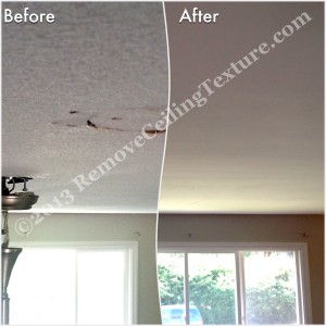 Ceiling repair renovations and texture removal in living room of Langley home
