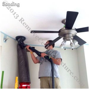 The first step to smooth ceilings is sanding the texture with the Festool specialty sander