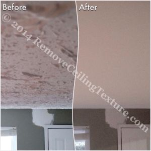 Entrance before and after in Coquitlam after removing popcorn ceilings