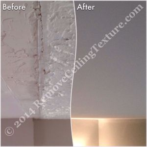 Removing popcorn ceilings: Before and after of ceiling texture removal after a wall was removed