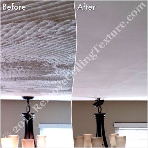 Textured Ceiling Removal:  Before and after of dining room at Windward Dr.