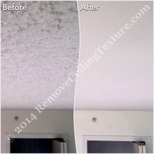 How to Remove Popcorn Ceilings article:  Popcorn ceiling removal at a condo at 1128 Quebec St, Vancouver - Hallway