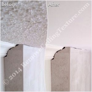 Before and after: Smooth ceilings in West Vancouver - Close-up