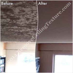 Before & after of popcorn texture removal in Langley - Living room