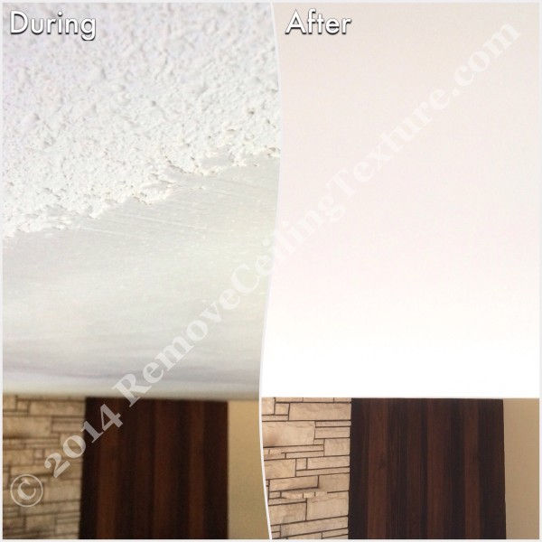 During photo and after photo of popcorn ceiling removal in the living room of a Delta home.