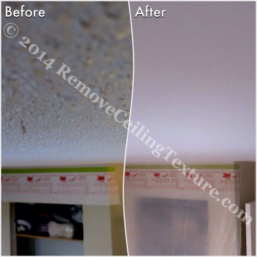 Before and after of ceiling texture removal at a condo at 621 East 6th Ave, Vancouver - Bedroom (1)