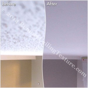Before and after of ceiling texture removal at a condo at 621 East 6th Ave, Vancouver - Bedroom (2)