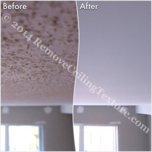 Before and after of ceiling texture removal at a condo at 621 East 6th Ave, Vancouver - Bedroom (3)