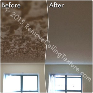 Before & After Renovations: Ceiling texture removal at a condo at 1188 Quebec St (Bedroom)