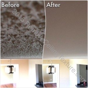 Before & After Renovations: Ceiling texture removal at a condo at 1188 Quebec St (Dining Room)