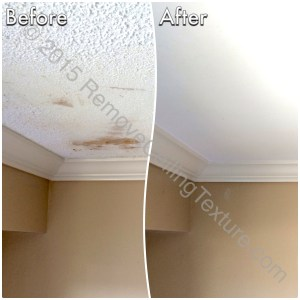 This was a failed DIY attempt at scraping concrete ceilings. We were called in to fix the ceilings.