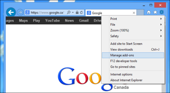 IE Manage Add-ons