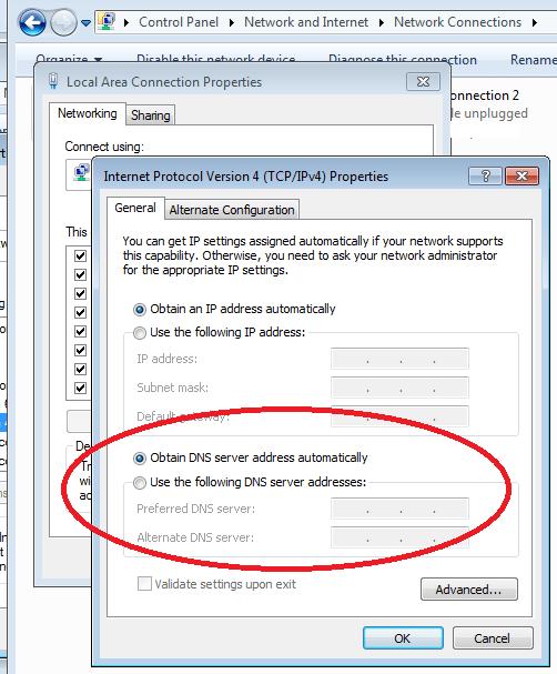 obtain dns server address automatically