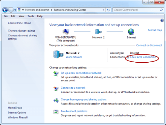 view your active networks local area connection
