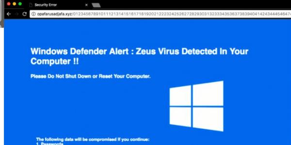 Rimuovere Windows Defender Alert: Zeus Virus Tech Support Scam