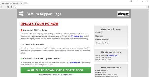 Sichere PC-Support-Seite Pop-ups