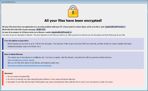 Ransom Note de Cmb Dharma Ransomware