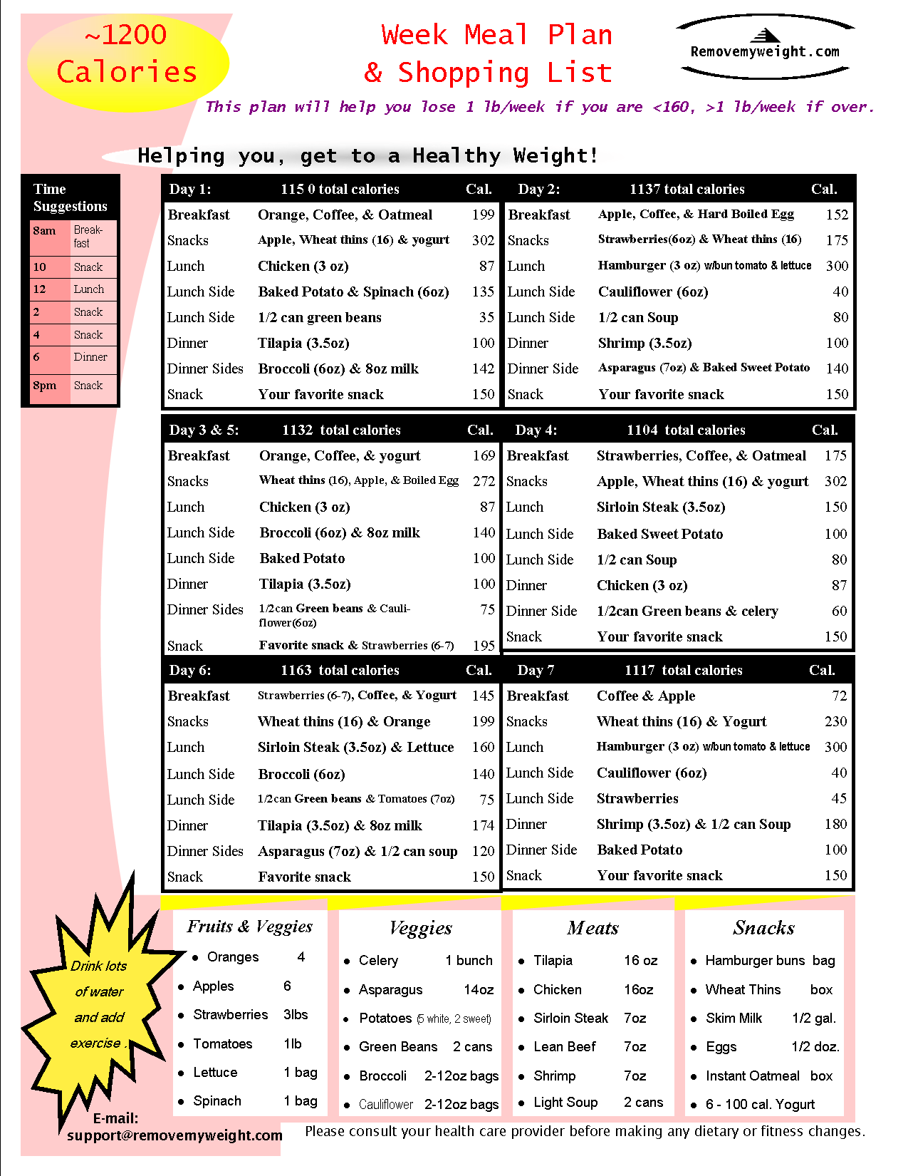 1200 calories diet menu to lose weight
