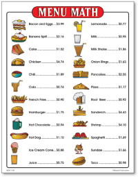 Restaurant Menu Math Worksheets