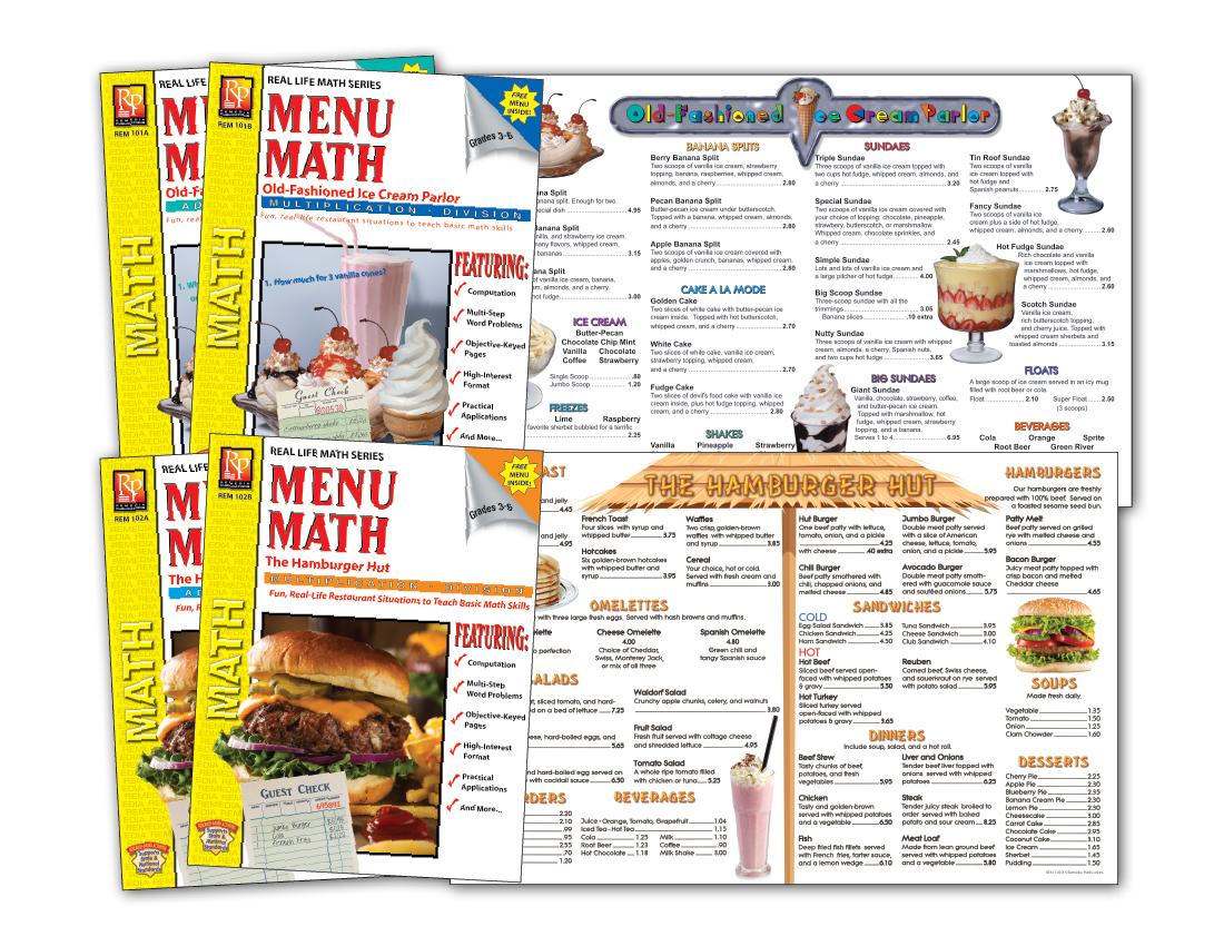 Menu Math The Hamburger Hut 6 Extra Menus