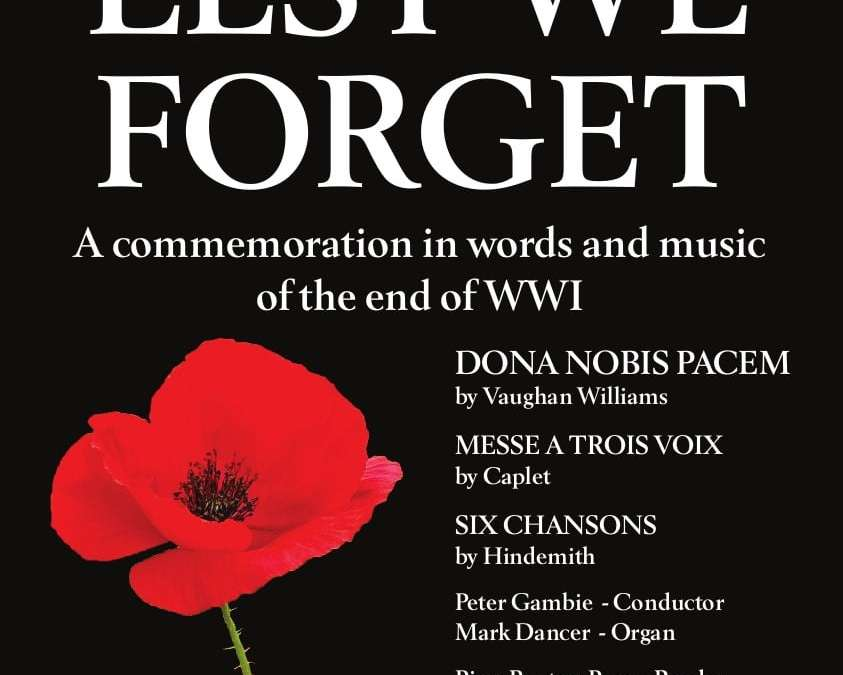 "Preview of ""Lest We Forget"" concert on Saturday 27 October"