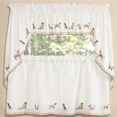 Kitchen Tier Curtains Sink Drains Dogs Embroidered Pair, Swag Set & Insert Valance ...