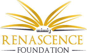 logo of a rising sun with the word renasance foundation written underneath