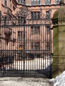 Cornelius Vanderbilt built this dorm with its luxuriant gates for his sons' comfort while attending Yale.  Cole Porter lived here later.  This dorm is adjacent to the much more modest housing Ives inhabited.