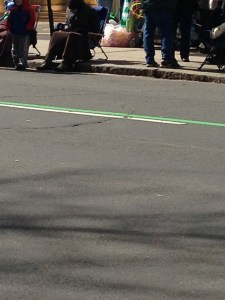 The green stripe marks the parade route, which went right in front of my building