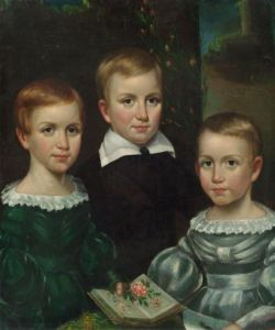 Dickinson children Emily on left, Ned, Lavinia on right Otis Bullard, c1840