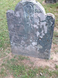 Gravestone for Hannah, Benedict's sister; all headstones with the name Benedict Arnold (his father and older brother who predeceased him) were removed from the cemetery and tossed in the Niantic River, but the bones remain