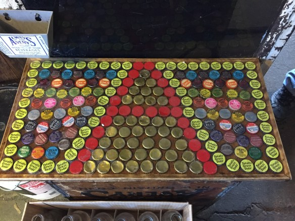 Bottle cap art: A for Avery's