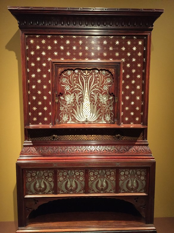 Cabinet, made in New York City, 1884-5, Rosewood, mahogany, cherry, pine, pewter, brass, mother-of-pearl inlay