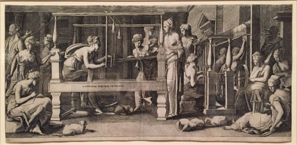 Girolamo Fagiuoli, Penelope and Her Women Making Cloth, c1545, Engraving, Yale University Art Gallery