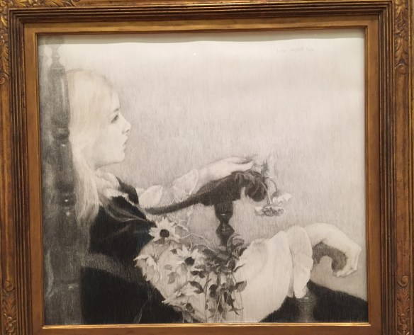 Lilian Westcott Hale, Black Eyed Susans, before 1922, charcoal and colored pencil on paper, Private Collection