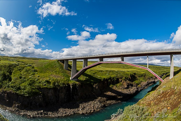"The bridge over the Jokuldalur on Road 1 ""Ring Road"" in Brúarás. Nikon D810, 16 mm (16.0 mm ƒ/2.8) 1/160 sec ƒ/9 ISO 64"