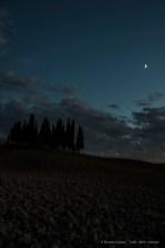 "Cypresses under the moon. Nikon D810, 38mm (24.0-120mm ƒ/4.0) 2"" ƒ/6.3 ISO 64"